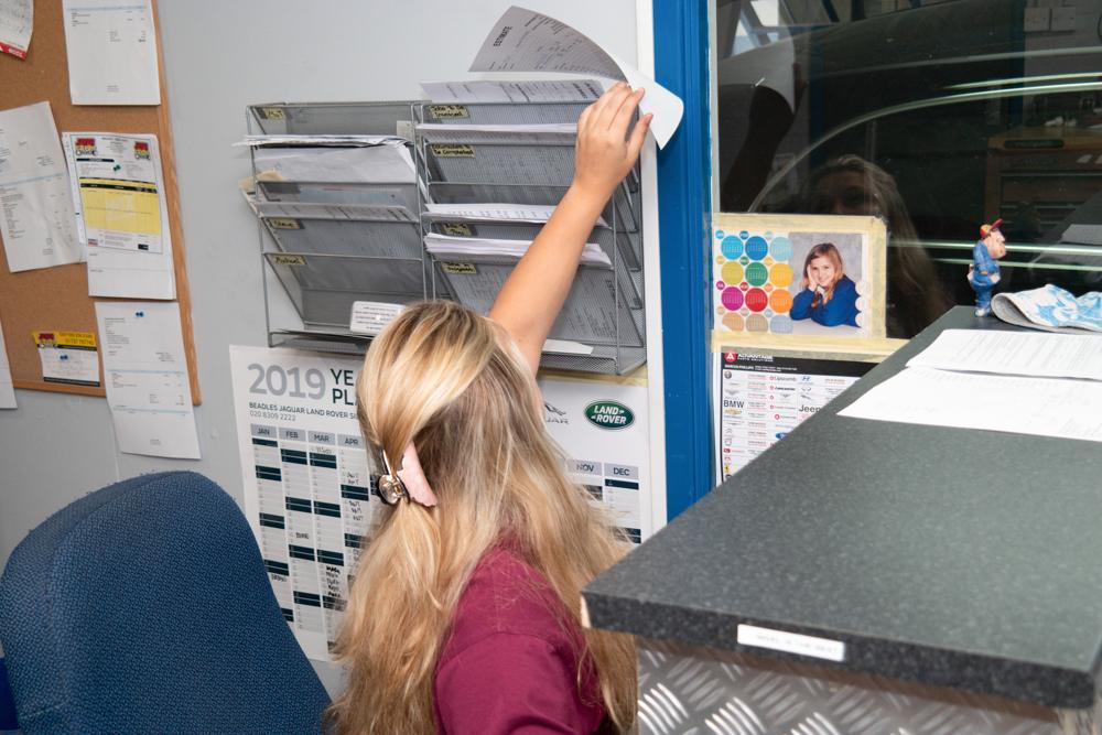 Lauren performing administrative duties